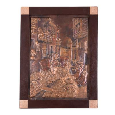 Copper panel, 'Duel' - Copper panel