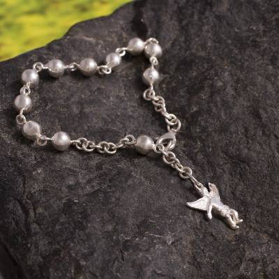 Sterling silver charm bracelet, 'Angel Guardian' - Collectible Protection Fine Silver Rosary Charm Bracelet
