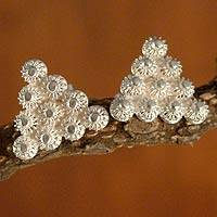 Silver filigree earrings, 'Ten Blossoms' - Fine Silver Button Earrings