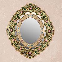 Mirror, 'Emerald Garden' - Hand Crafted Peruvian Floral Mirror