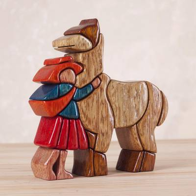 Cedar and mahogany sculpture, 'Love My Llama' - Hand Carved Wood Sculpture Andean Folk Art