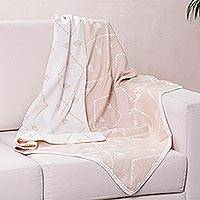 Alpaca blend throw blanket, 'Inca Duck Dunes' - Alpaca Throw Blanket in White and Tan from Peru