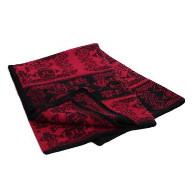 Alpaca blend throw blanket, 'Paracas Treasure' - Alpaca Wool Blend Original Throw Blanket