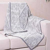 Alpaca blend throw blanket, 'Paracas Snow' - Alpaca blend throw blanket
