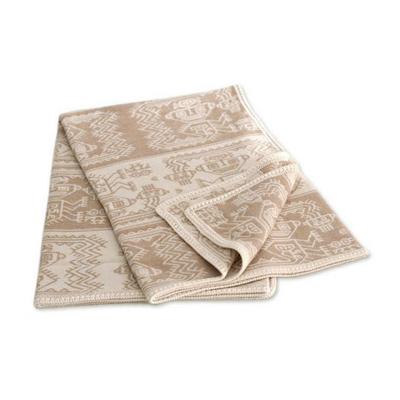 Alpaca blend throw blanket, 'Paracas Dew' - Alpaca Wool Blend Patterned Blanket and Throw