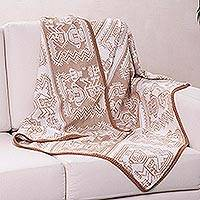 Alpaca blend throw blanket, 'Paracas Coast' - Fair Trade Alpaca Wool Patterned Blanket and Throw