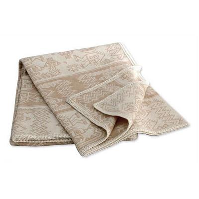 Tan with Beige Alpaca Blend Twin Blanket