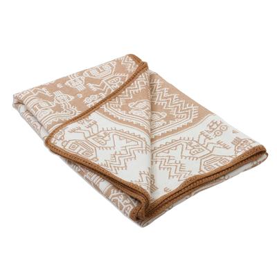 Alpaca Wool Patterned Brown and Beige Twin Blanket