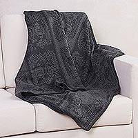 Alpaca blend blanket, 'Paracas Mist' (large) - Grey Alpaca Wool Blend Blanket with Paracas Glyphs (Large)
