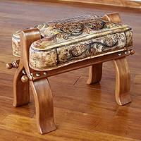 Tornillo wood and leather stool, 'Golden Maze' - Handcrafted Leather Vaulted Horse Seat Stool
