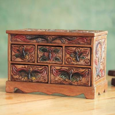 Wood and leather jewelry box, 'Antique Ivy' - Hand Crafted Tooled Leather and Wood Jewelry Box
