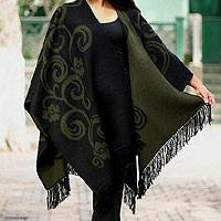 Reversible alpaca blend ruana cloak, 'Spring Silhouette' - Collectible Alpaca Wool Reversible Wrap Ruana