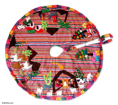 Applique Christmas tree skirt, 'Noel' - Applique Christmas tree skirt