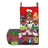 Applique Christmas stocking, 'No Room at the Inn' - Applique Christmas stocking