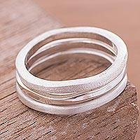 Sterling silver band rings, 'Sea Dance' (set of 3) - Peruvian Fine Silver Stacking Rings (Set of 3)