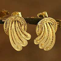Gold plated filigree earrings, 'Golden Fan'