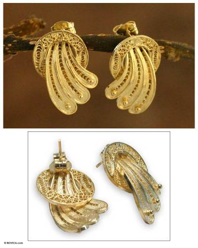Gold plated filigree earrings, 'Golden Fan' - Gold plated filigree earrings