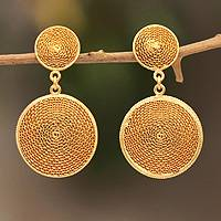 Gold plated filigree earrings, 'Starlit Suns'