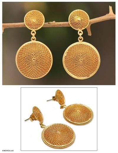 Gold plated filigree earrings, Starlit Suns