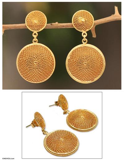 Gold plated filigree earrings, 'Starlit Suns' - 21K Gold Plated Dangle Filigree Earrings