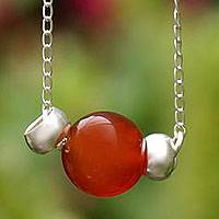 Carnelian pendant necklace, 'Always True' - Carnelian pendant necklace