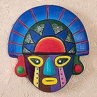 Ceramic mask, 'Sunset Colors' - Hand Crafted Colorful Ceramic Tumi Mask