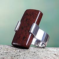 Mahogany obsidian cocktail ring, 'Chocolate Hug'