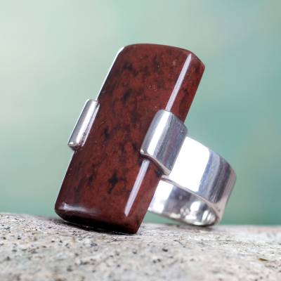 Mahogany obsidian cocktail ring, 'Chocolate Hug' - Modern Obsidian and Silver Cocktail Ring
