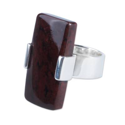 Modern Obsidian and Silver Cocktail Ring