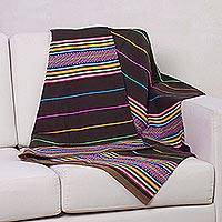 Woven throw blanket, 'Rainbows' - Wool Striped Lap Throw Blanket