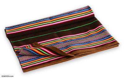 Woven throw blanket, 'Rainbows' - Wool Striped Lap Throw Blanket
