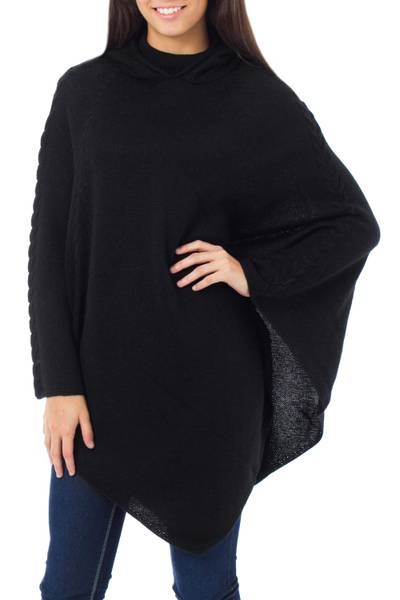 Alpaca blend poncho with hood, 'Eternal Magic' - Alpaca Wool Blend Poncho from Peru