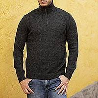 100% alpaca men's sweater, 'Casual Gray' - Alpaca Wool Grey Men's Pullover Sweater