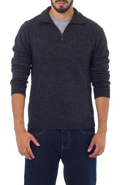 100% alpaca men's sweater, 'Casual Gray' - 100% Alpaca Wool Grey Men's Pullover Sweater