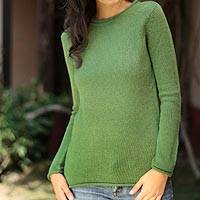 100% alpaca sweater, 'Winter Lime' - Fair Trade Alpaca Wool Pullover Sweater