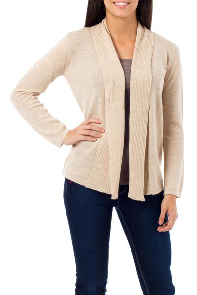 Alpaca blend sweater, 'Versatility' - Handcrafted Alpaca Blend Cardigan Sweater