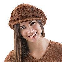 100% alpaca hat, 'Chestnut Cap' - Artisan Crafted Alpaca Wool Cap
