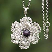 Amethyst flower necklace, 'Amazon Bloom' - Amethyst flower necklace