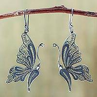 Silver filigree earrings, 'Antique Butterfly'