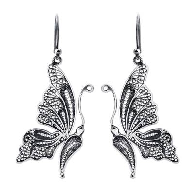 Silver filigree earrings, 'Antique Butterfly' - Unique Bridal Fine Silver Filigree Earrings