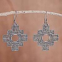 Silver filigree earrings, 'Astral Cross'