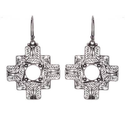 Silver filigree earrings, 'Astral Cross' - Handcrafted Fine Silver Peruvian Filigree Earrings