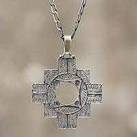 Silver filigree pendant necklace, 'Astral Cross'
