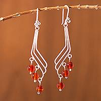 Carnelian dangle earrings, 'Ice Fire' - Carnelian dangle earrings