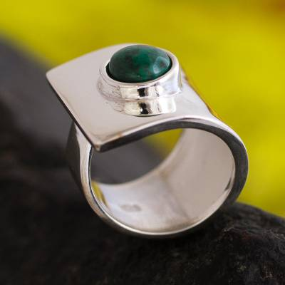 Chrysocolla cocktail ring, 'Wrap' - Chrysocolla cocktail ring