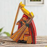 Cedar and mahogany sculpture, 'Andean Harpist'