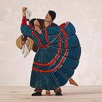 Cedar and mahogany sculpture, 'Dance of Romance' - Folkloric Dancers Sculpted in Multi-Colored Woods