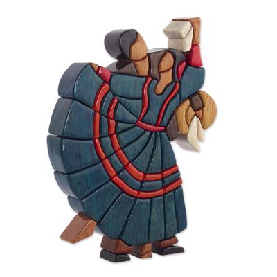 Cedar and mahogany sculpture, 'Dance of Romance' - Dance and Music Mahogany Wood Sculpture