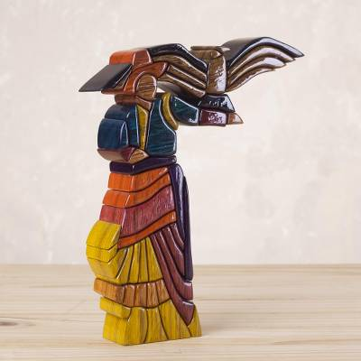 Cedar and mahogany sculpture, 'The Woman and the Condor' - Cedar and Mahogany Sculpture Handmade Peru