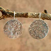 Silver dangle earrings, 'Moon Muse'